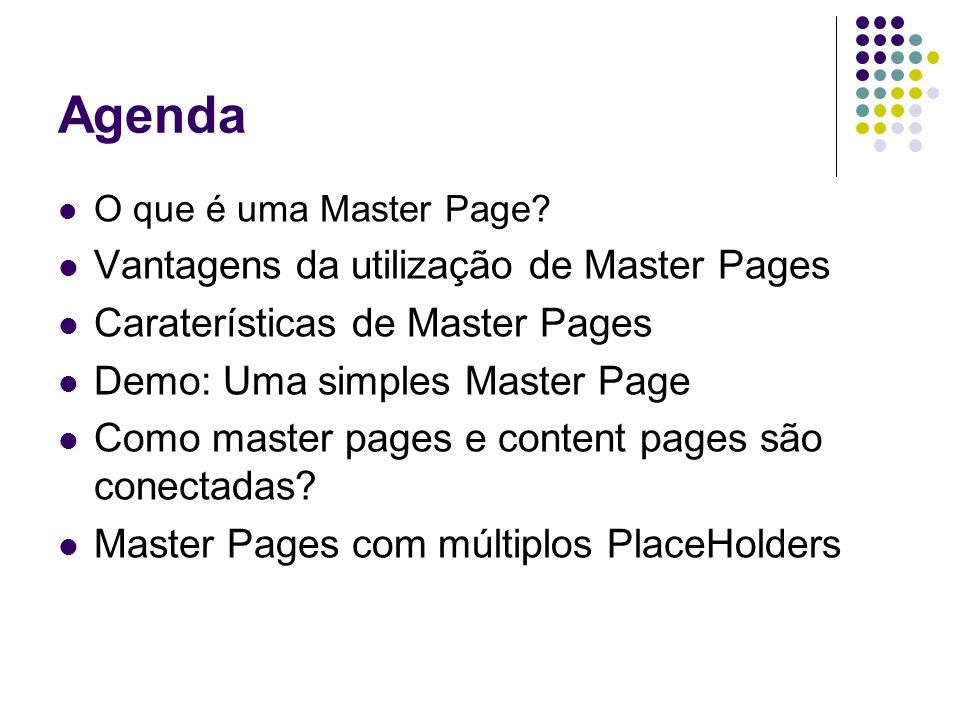 Agenda Vantagens da utilização de Master Pages
