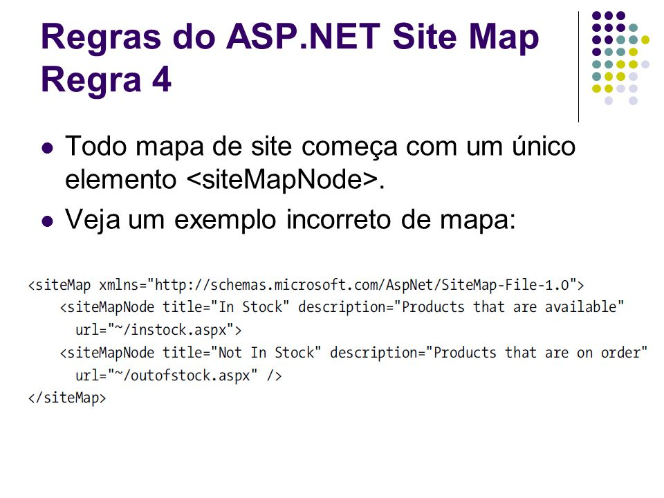 Regras do ASP.NET Site Map Regra 4