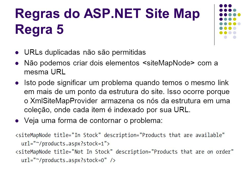 Regras do ASP.NET Site Map Regra 5