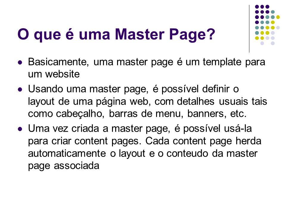 O que é uma Master Page Basicamente, uma master page é um template para um website.