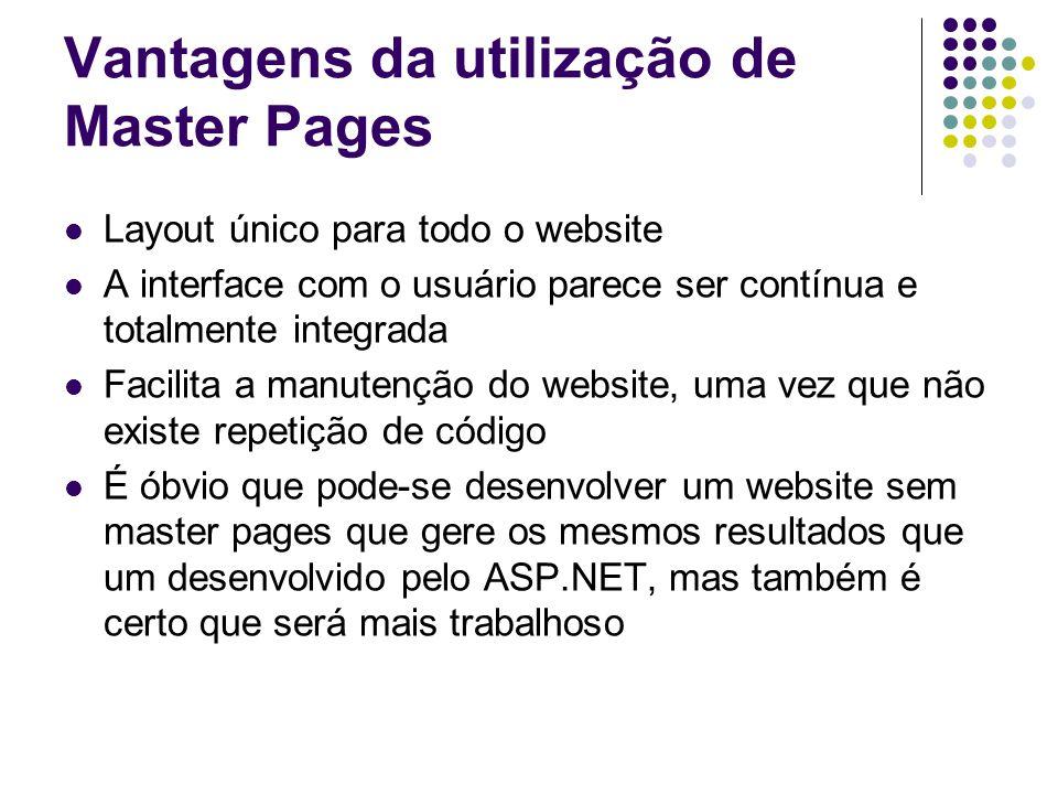 Vantagens da utilização de Master Pages