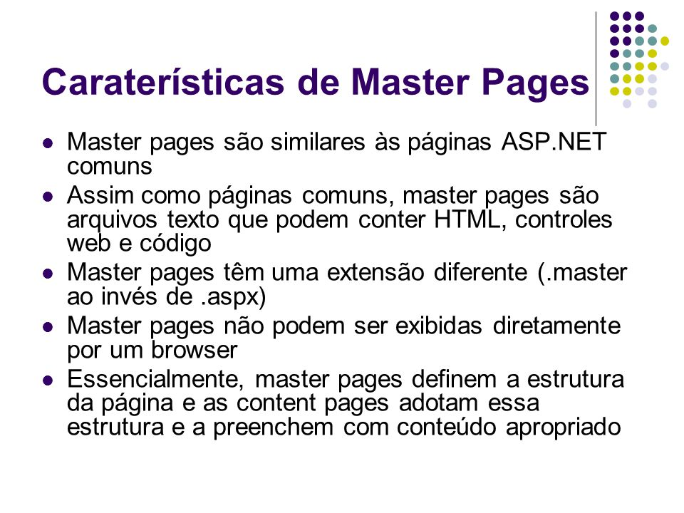 Caraterísticas de Master Pages