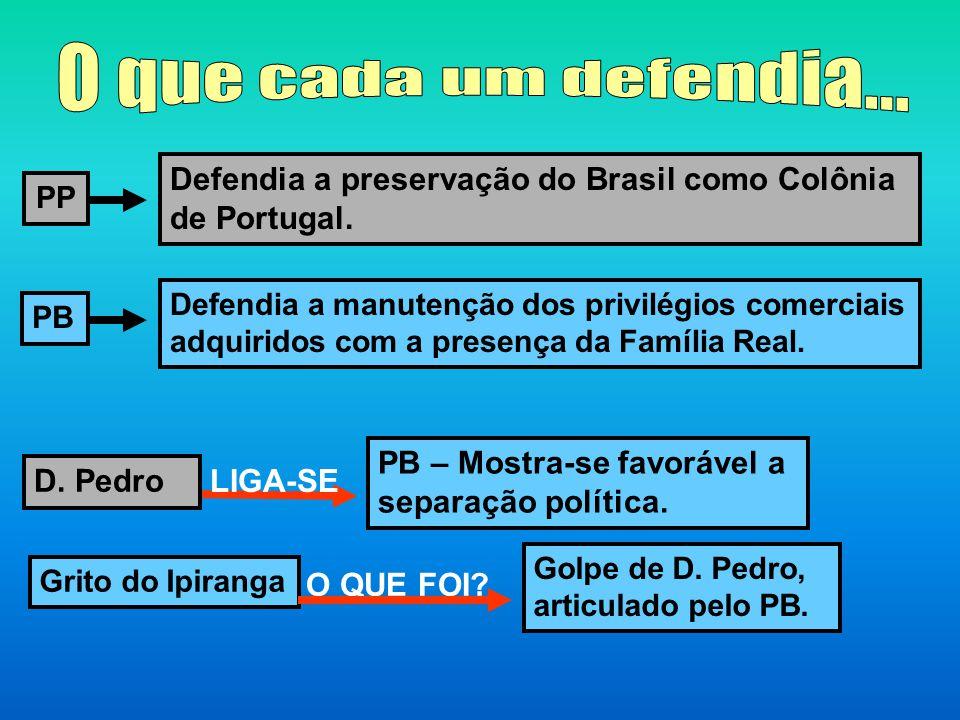 O que cada um defendia... Defendia a preservação do Brasil como Colônia de Portugal. PP. Defendia a manutenção dos privilégios comerciais.