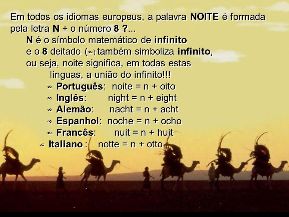 Em todos os idiomas europeus, a palavra NOITE é formada pela letra N + o número 8 ... N é o símbolo matemático de infinito