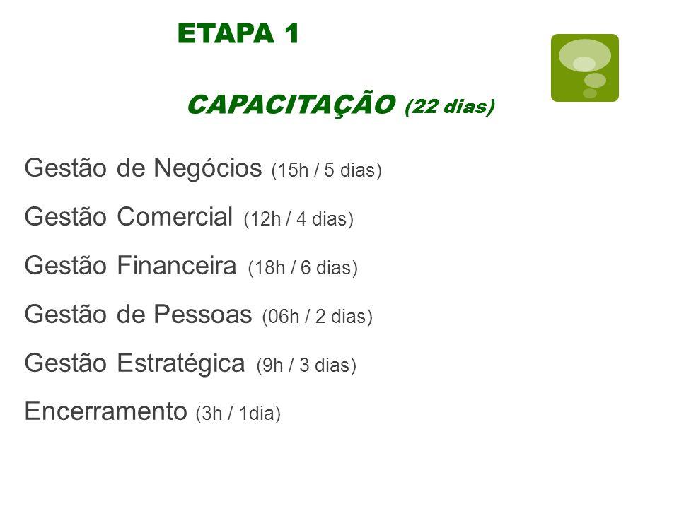 ETAPA 1 CAPACITAÇÃO (22 dias) Gestão de Negócios (15h / 5 dias)