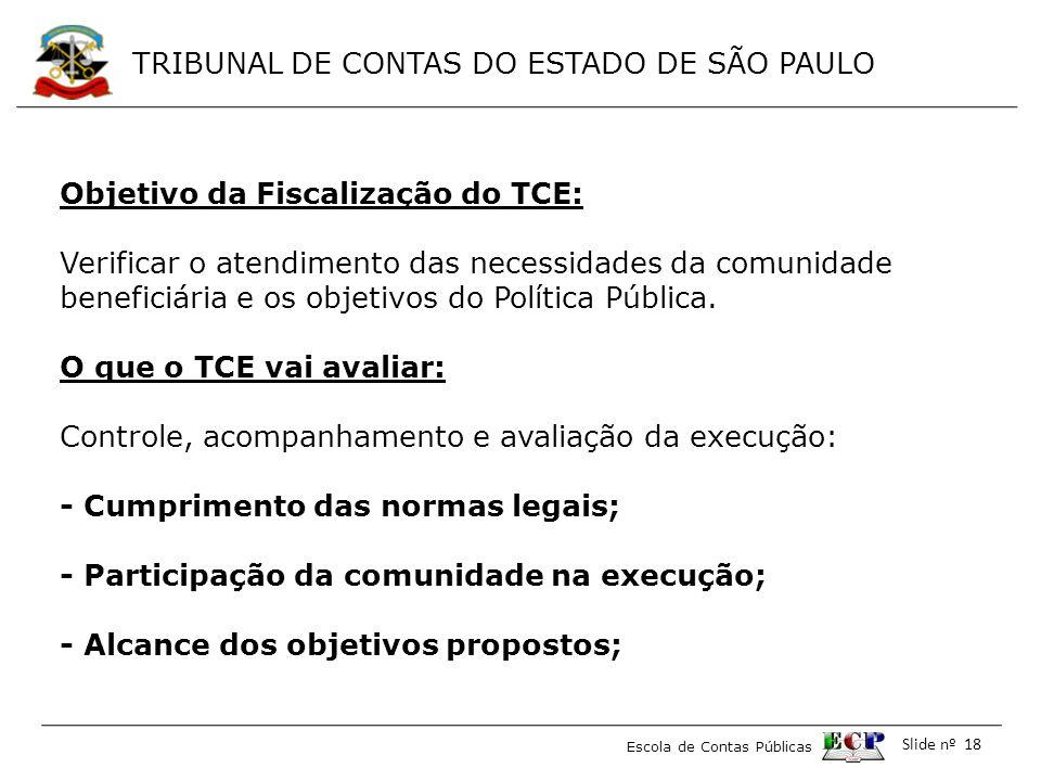 Objetivo da Fiscalização do TCE: