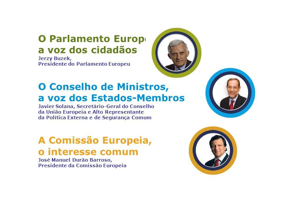 O Parlamento Europeu, a voz dos cidadãos Jerzy Buzek, Presidente do Parlamento Europeu O Conselho de Ministros, a voz dos Estados-Membros Javier Solana, Secretário-Geral do Conselho da União Europeia e Alto Representante da Política Externa e de Segurança Comum A Comissão Europeia, o interesse comum José Manuel Durão Barroso, Presidente da Comissão Europeia