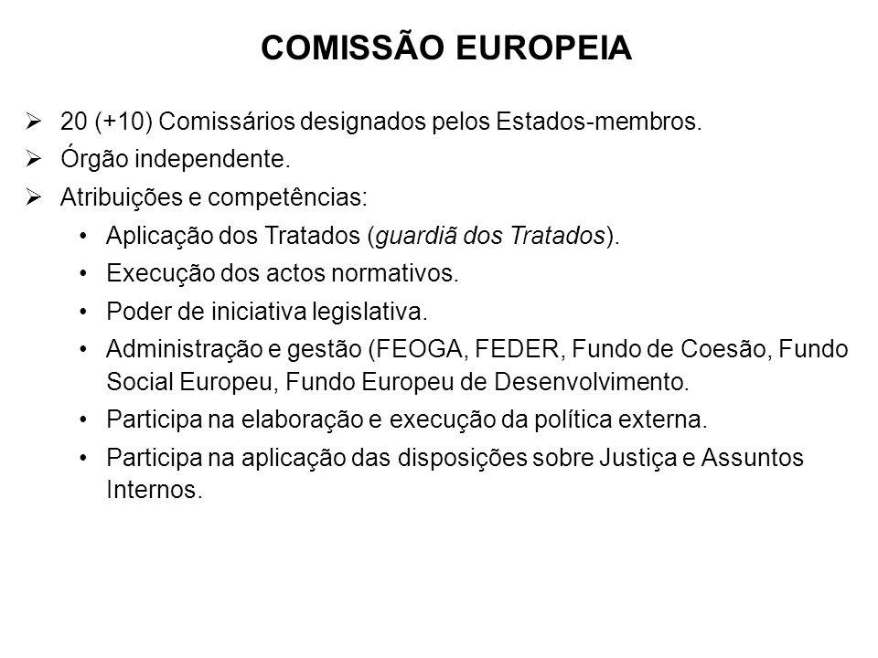 COMISSÃO EUROPEIA 20 (+10) Comissários designados pelos Estados-membros. Órgão independente. Atribuições e competências: