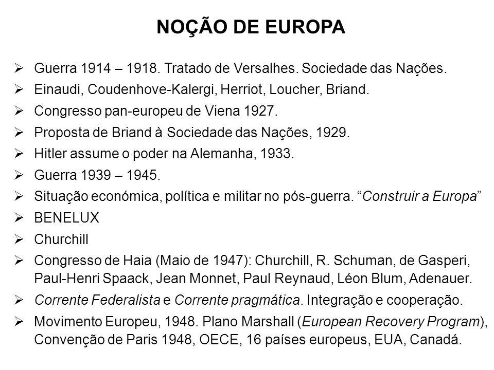 NOÇÃO DE EUROPA Guerra 1914 – 1918. Tratado de Versalhes. Sociedade das Nações. Einaudi, Coudenhove-Kalergi, Herriot, Loucher, Briand.