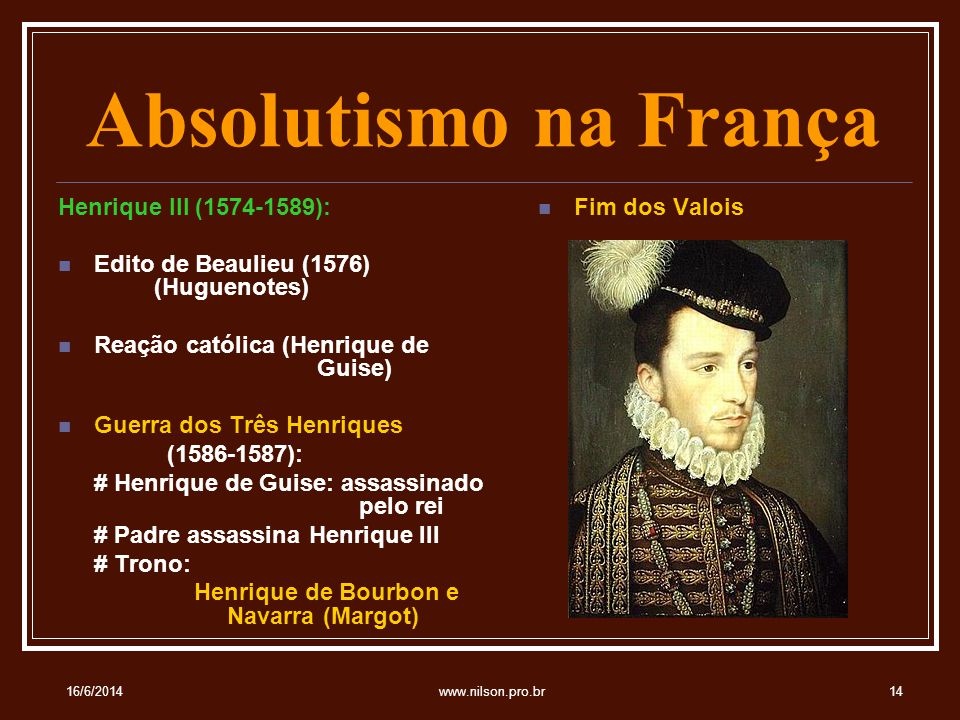 Absolutismo na França Henrique III (1574-1589):
