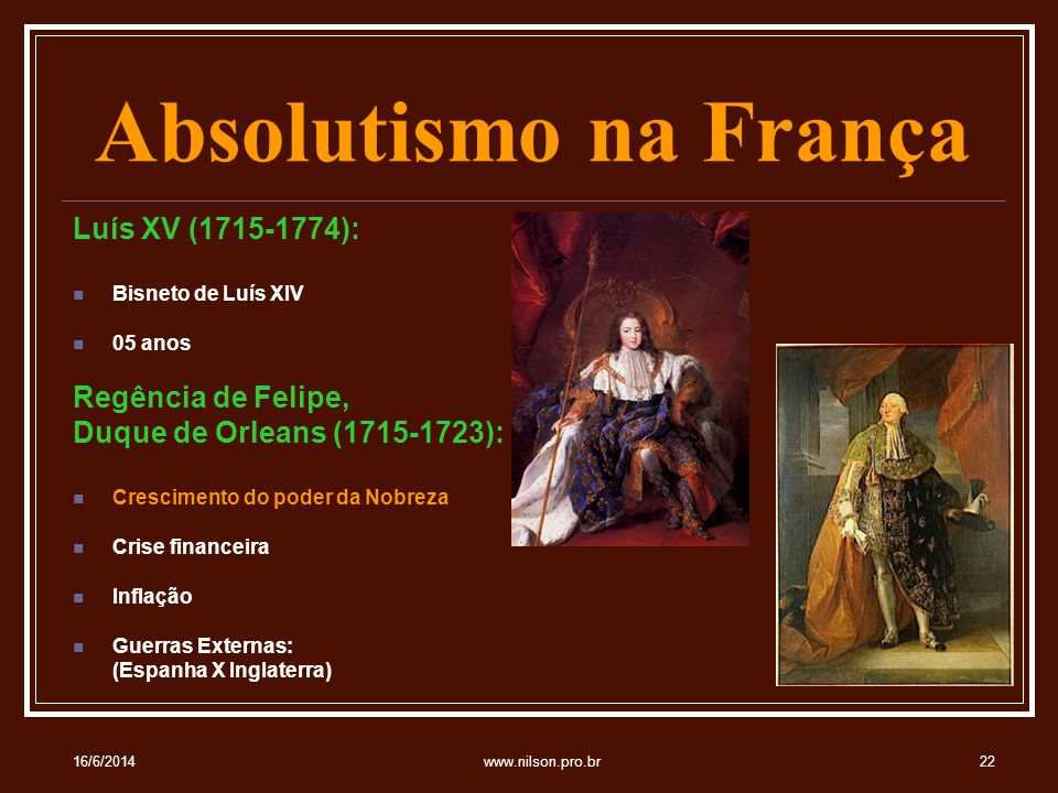 Absolutismo na França Luís XV (1715-1774): Regência de Felipe,