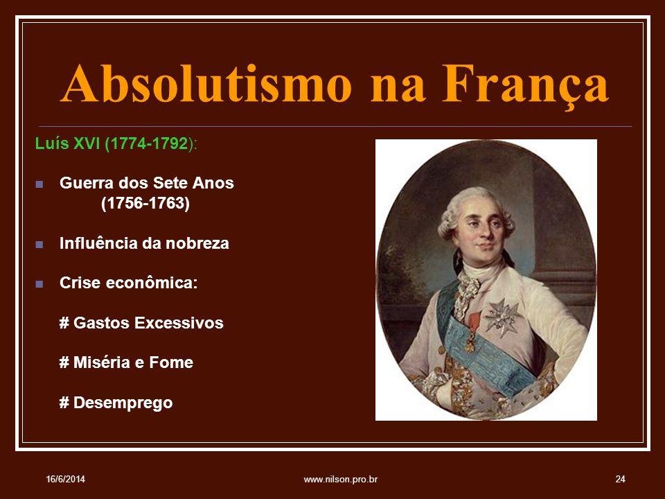 Absolutismo na França Luís XVI (1774-1792): Guerra dos Sete Anos