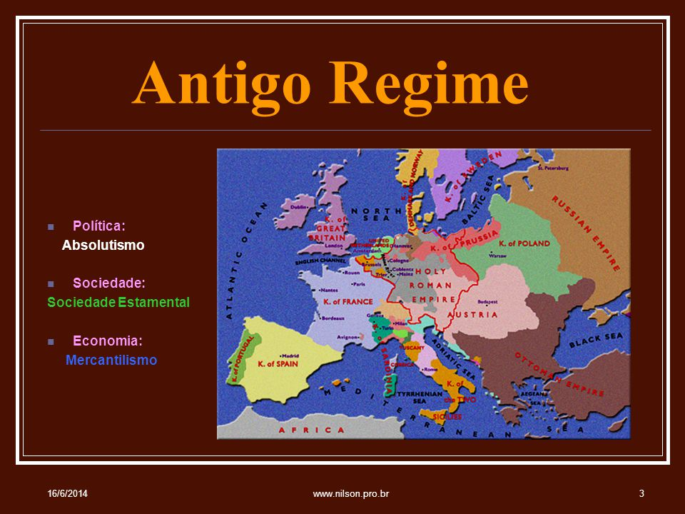 Antigo Regime Política: Absolutismo Sociedade: Sociedade Estamental