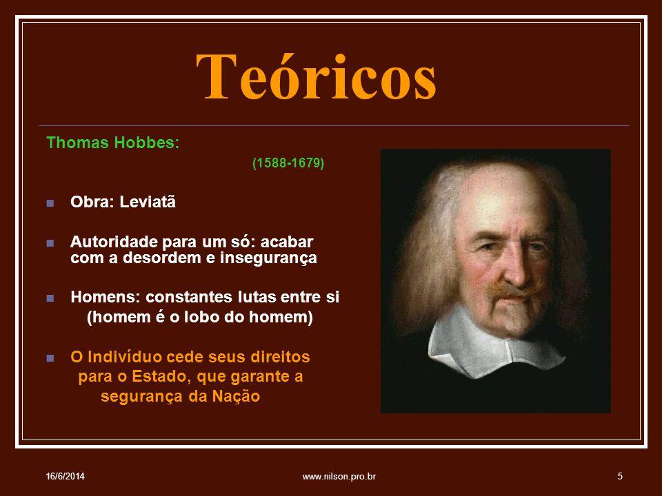 Teóricos Thomas Hobbes: (1588-1679) Obra: Leviatã