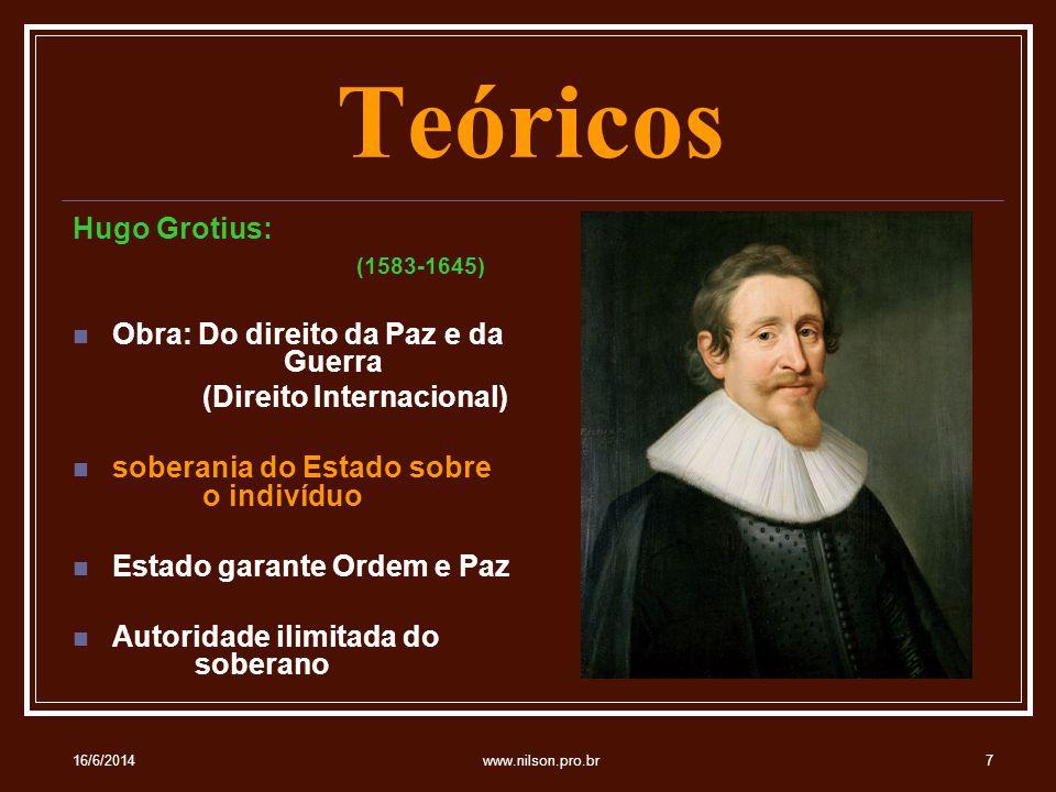 Teóricos Hugo Grotius: (1583-1645) Obra: Do direito da Paz e da Guerra