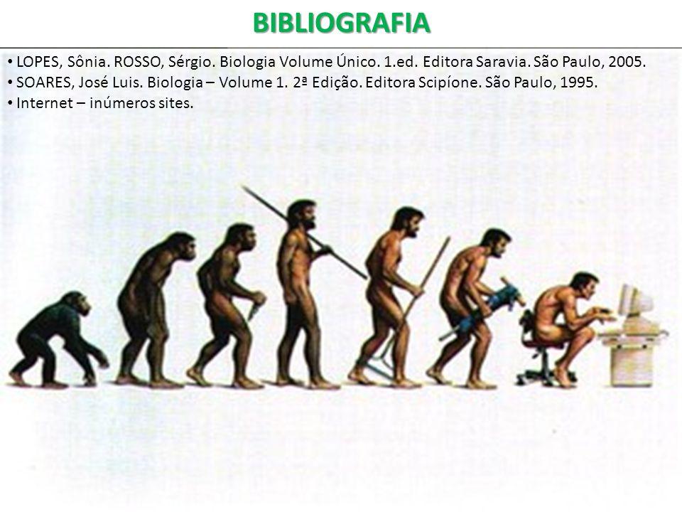 BIBLIOGRAFIA LOPES, Sônia. ROSSO, Sérgio. Biologia Volume Único. 1.ed. Editora Saravia. São Paulo, 2005.
