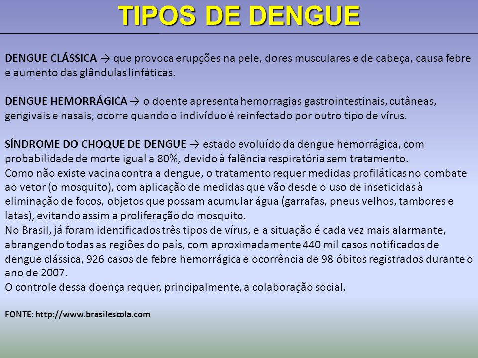 TIPOS DE DENGUE DENGUE CLÁSSICA → que provoca erupções na pele, dores musculares e de cabeça, causa febre e aumento das glândulas linfáticas.