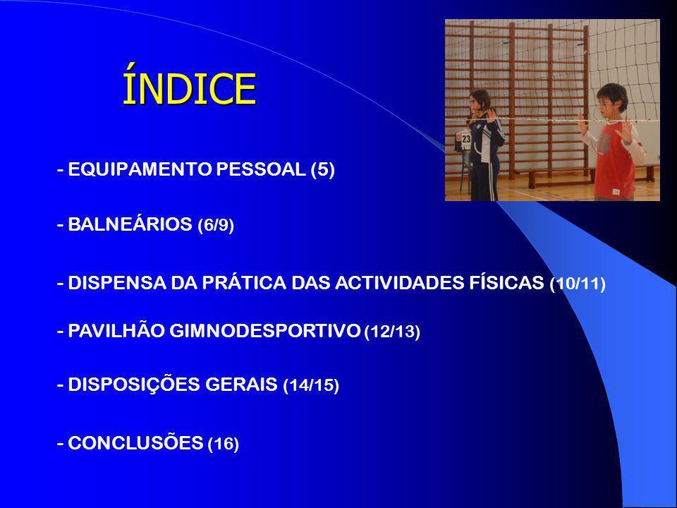 ÍNDICE - EQUIPAMENTO PESSOAL (5) - BALNEÁRIOS (6/9)