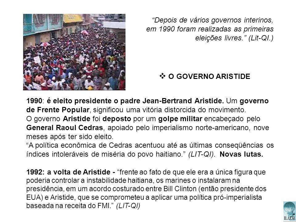 Depois de vários governos interinos, em 1990 foram realizadas as primeiras eleições livres. (Lit-QI.)