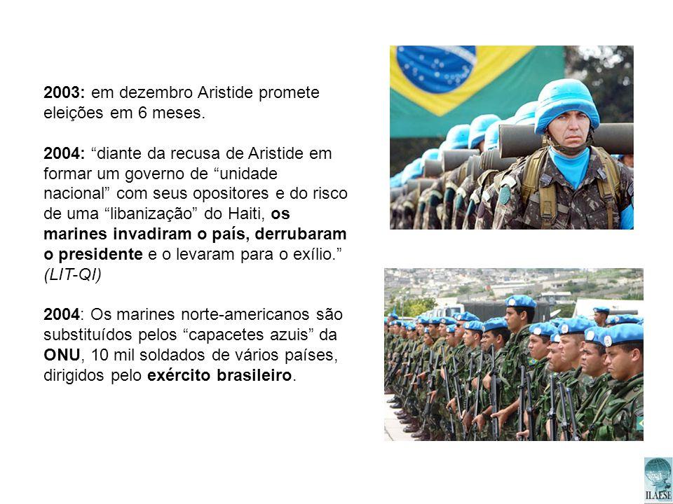 2003: em dezembro Aristide promete eleições em 6 meses.