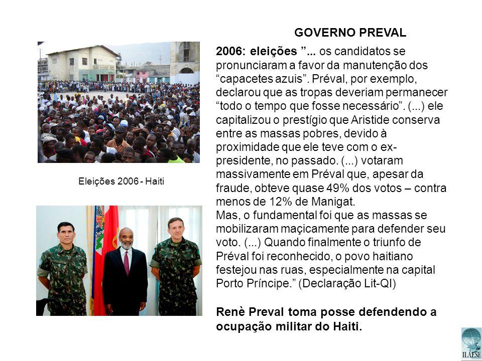Renè Preval toma posse defendendo a ocupação militar do Haiti.