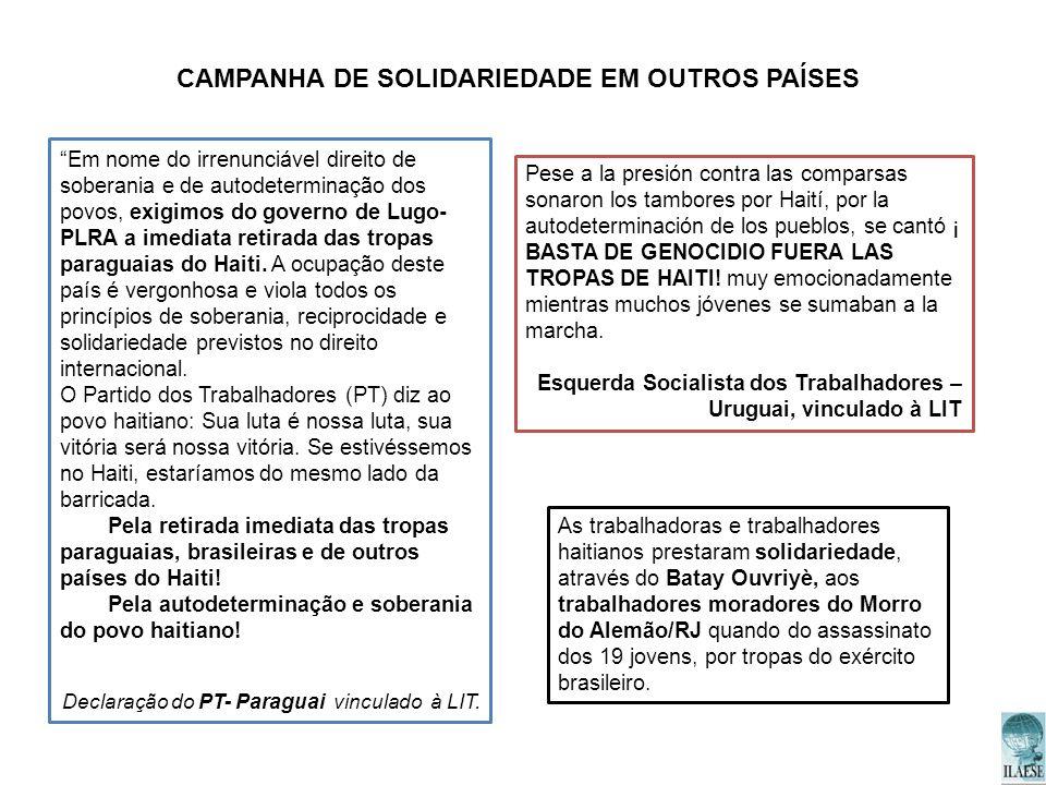 CAMPANHA DE SOLIDARIEDADE EM OUTROS PAÍSES