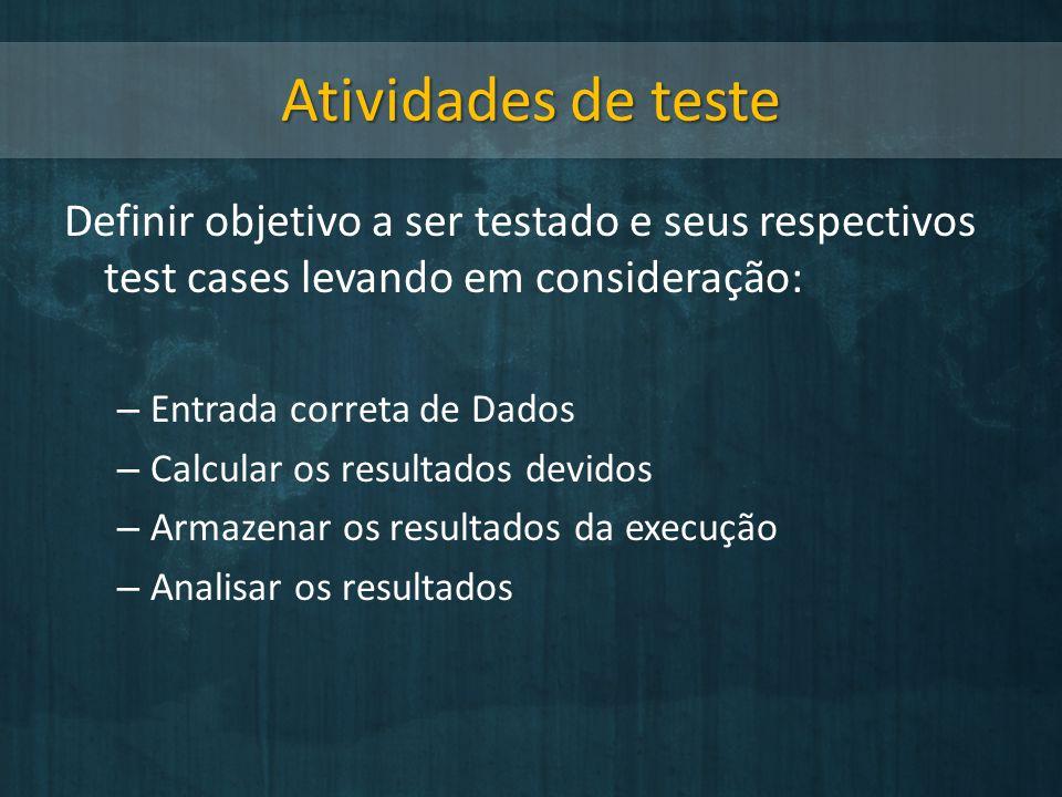 Atividades de teste Definir objetivo a ser testado e seus respectivos test cases levando em consideração:
