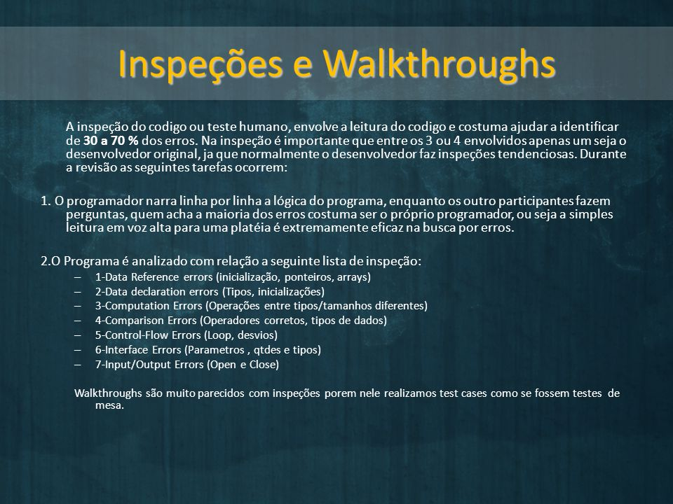 Inspeções e Walkthroughs
