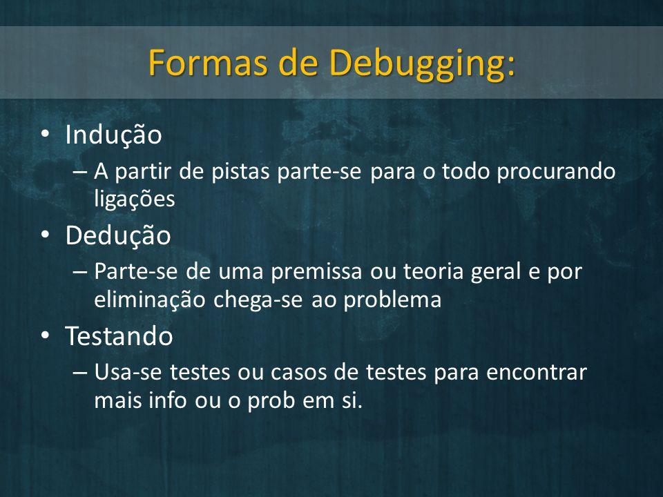 Formas de Debugging: Indução Dedução Testando