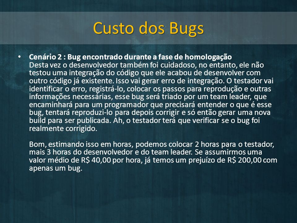Custo dos Bugs