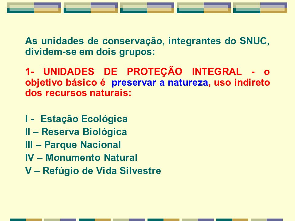 As unidades de conservação, integrantes do SNUC, dividem-se em dois grupos: