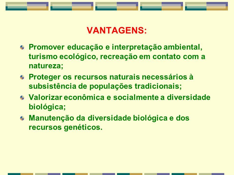 VANTAGENS: Promover educação e interpretação ambiental, turismo ecológico, recreação em contato com a natureza;