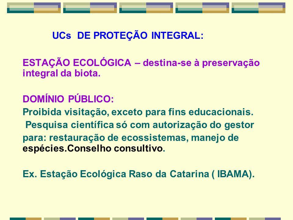UCs DE PROTEÇÃO INTEGRAL: