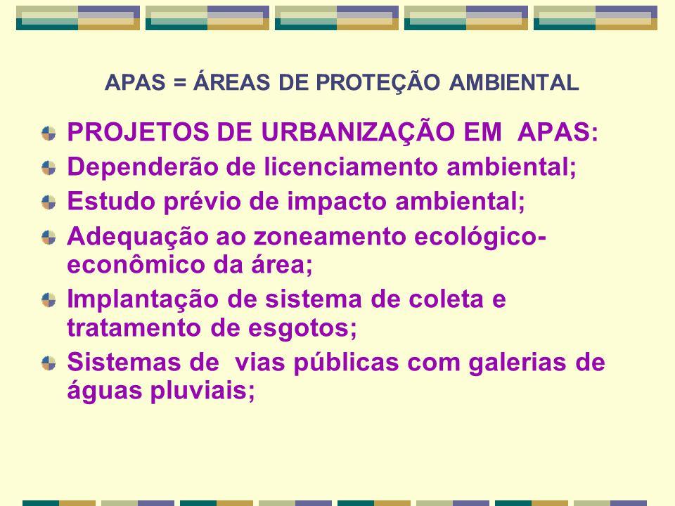 APAS = ÁREAS DE PROTEÇÃO AMBIENTAL