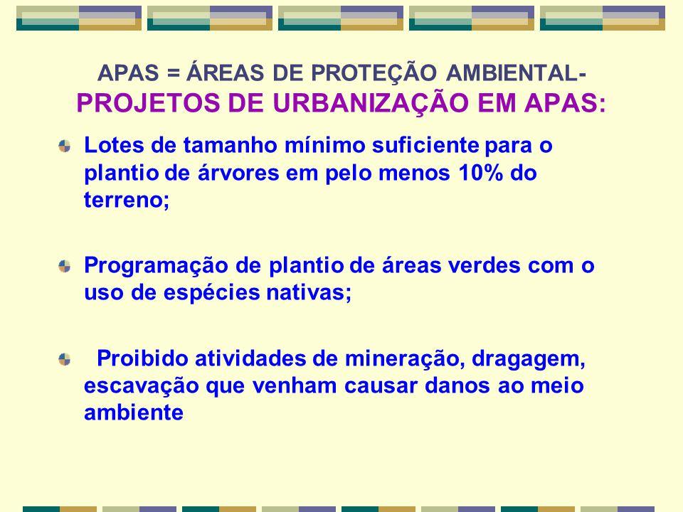 APAS = ÁREAS DE PROTEÇÃO AMBIENTAL- PROJETOS DE URBANIZAÇÃO EM APAS: