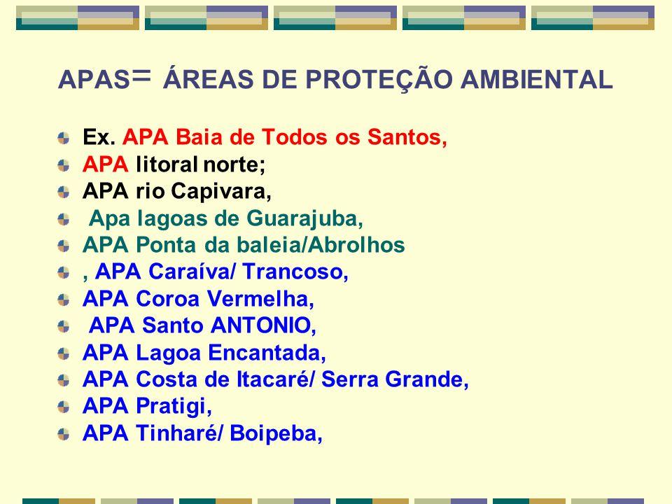 APAS= ÁREAS DE PROTEÇÃO AMBIENTAL