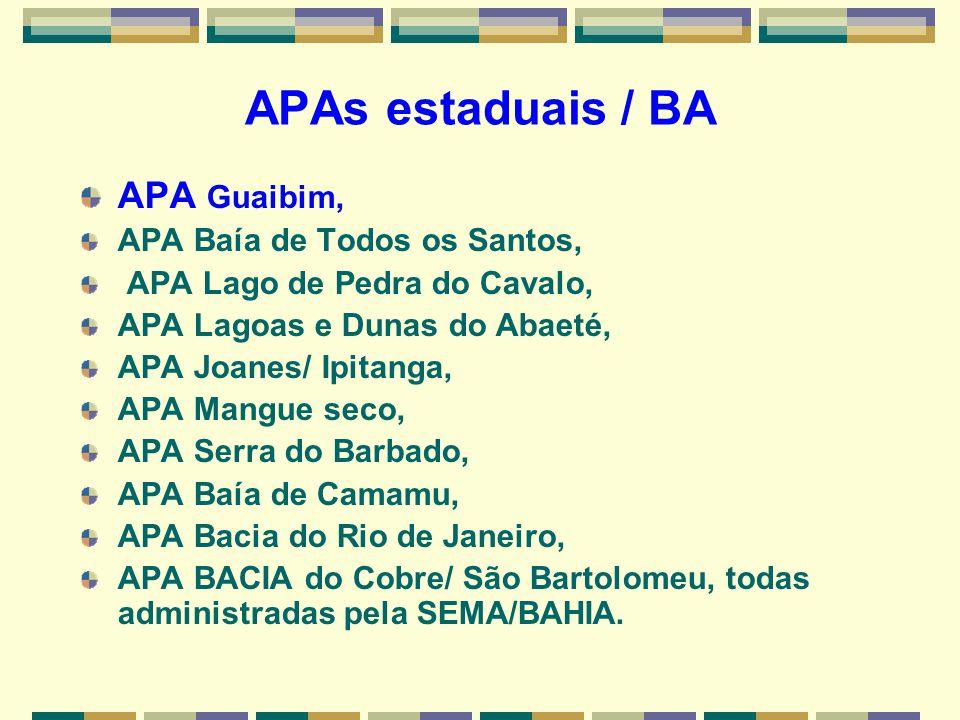 APAs estaduais / BA APA Guaibim, APA Baía de Todos os Santos,