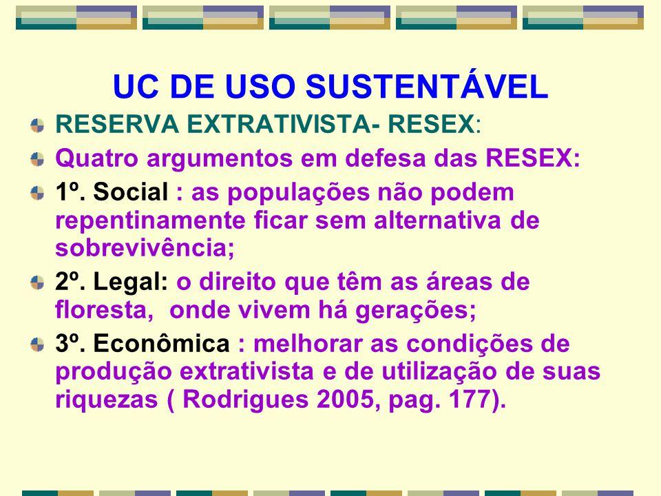 UC DE USO SUSTENTÁVEL RESERVA EXTRATIVISTA- RESEX: