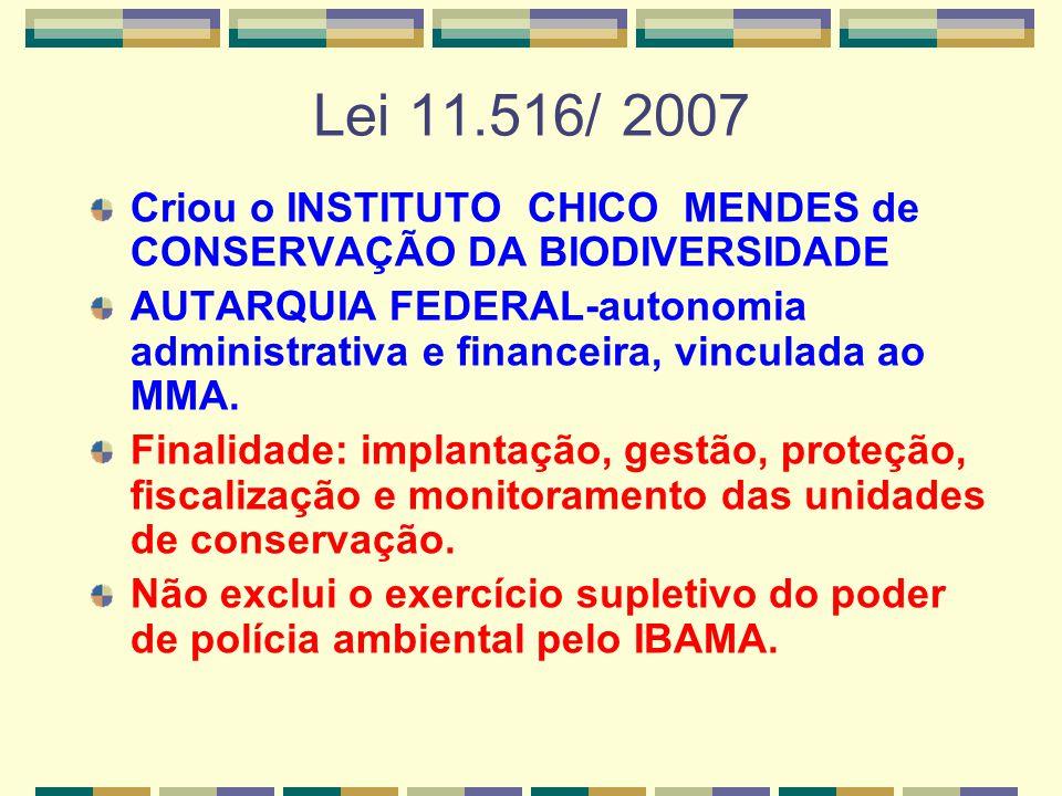 Lei 11.516/ 2007 Criou o INSTITUTO CHICO MENDES de CONSERVAÇÃO DA BIODIVERSIDADE.
