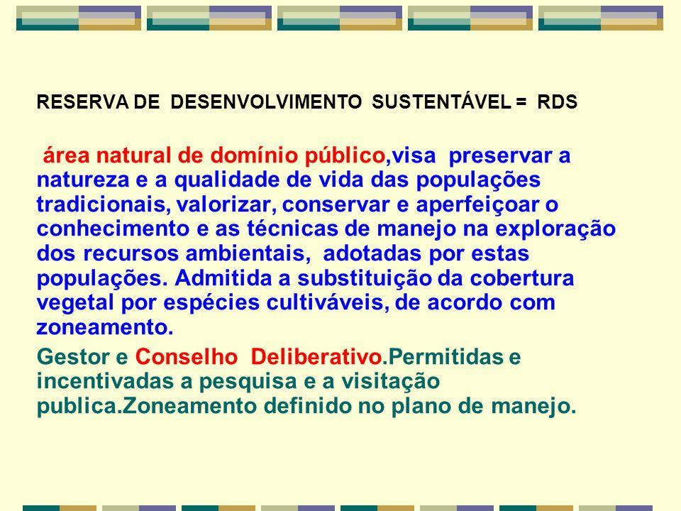 RESERVA DE DESENVOLVIMENTO SUSTENTÁVEL = RDS.