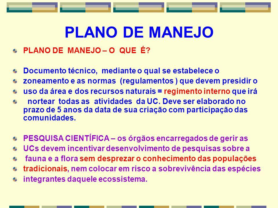 PLANO DE MANEJO PLANO DE MANEJO – O QUE É