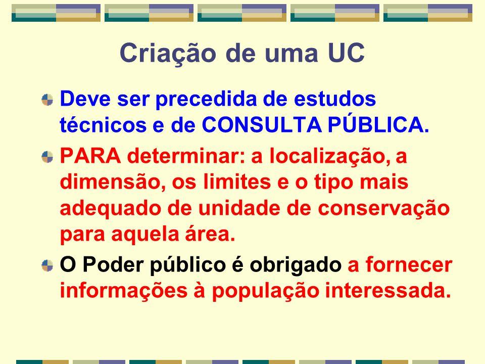 Criação de uma UC Deve ser precedida de estudos técnicos e de CONSULTA PÚBLICA.