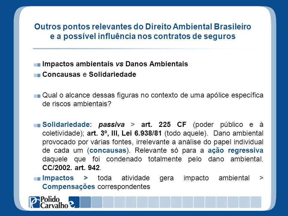 Outros pontos relevantes do Direito Ambiental Brasileiro e a possível influência nos contratos de seguros