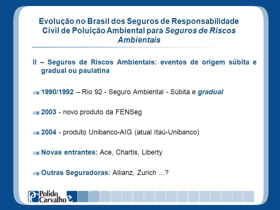 Evolução no Brasil dos Seguros de Responsabilidade Civil de Poluição Ambiental para Seguros de Riscos Ambientais