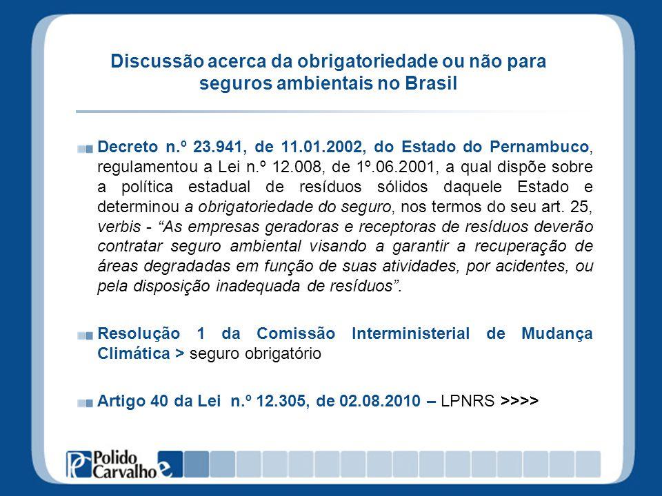 Discussão acerca da obrigatoriedade ou não para seguros ambientais no Brasil