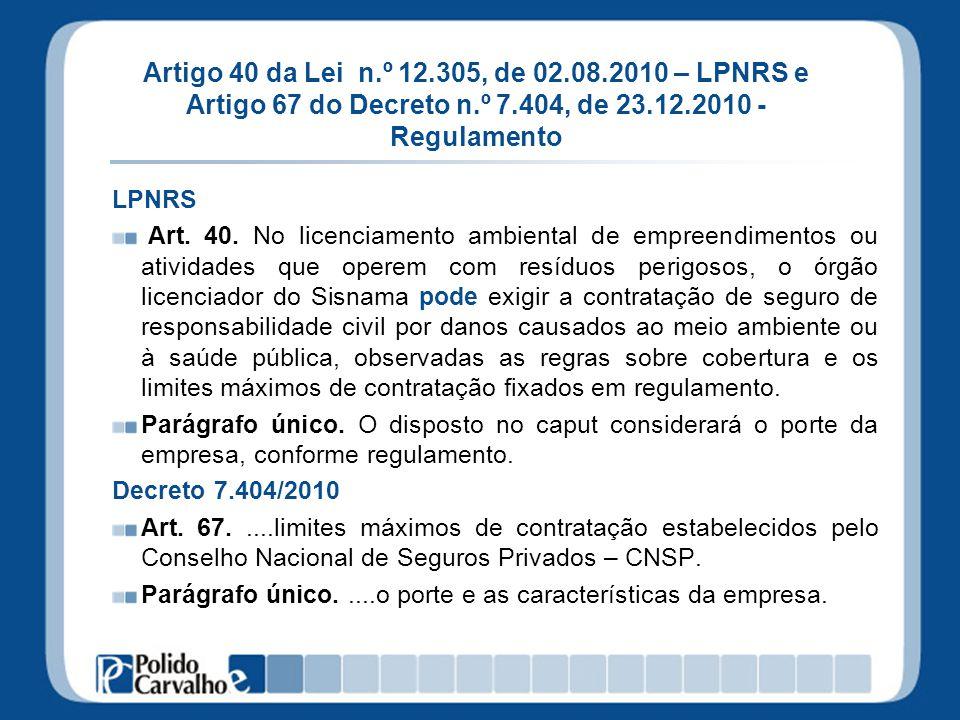Artigo 40 da Lei n.º 12.305, de 02.08.2010 – LPNRS e Artigo 67 do Decreto n.º 7.404, de 23.12.2010 - Regulamento