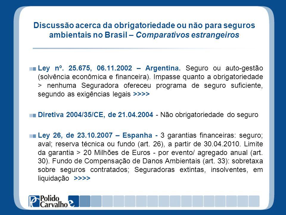Discussão acerca da obrigatoriedade ou não para seguros ambientais no Brasil – Comparativos estrangeiros