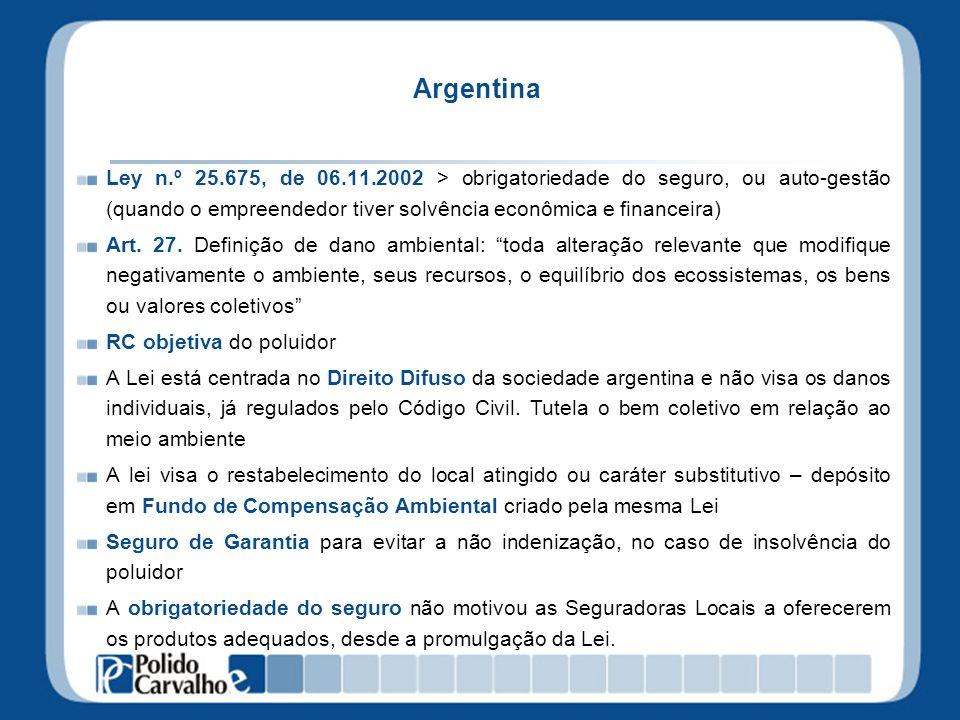 Argentina Ley n.º 25.675, de 06.11.2002 > obrigatoriedade do seguro, ou auto-gestão (quando o empreendedor tiver solvência econômica e financeira)