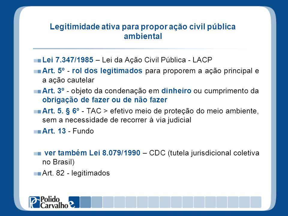 Legitimidade ativa para propor ação civil pública ambiental