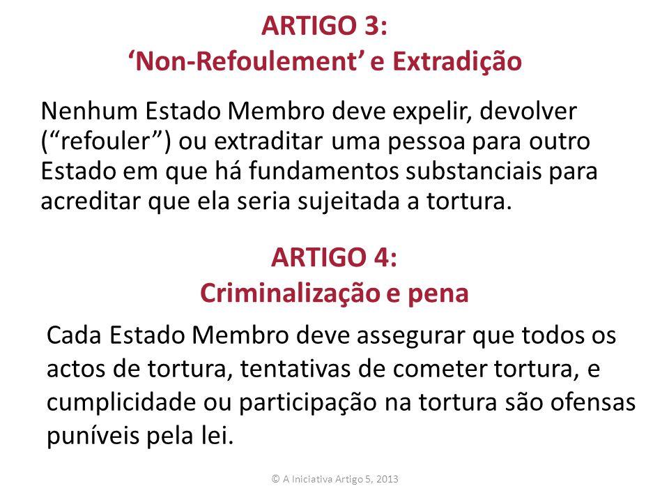 ARTIGO 3: 'Non-Refoulement' e Extradição